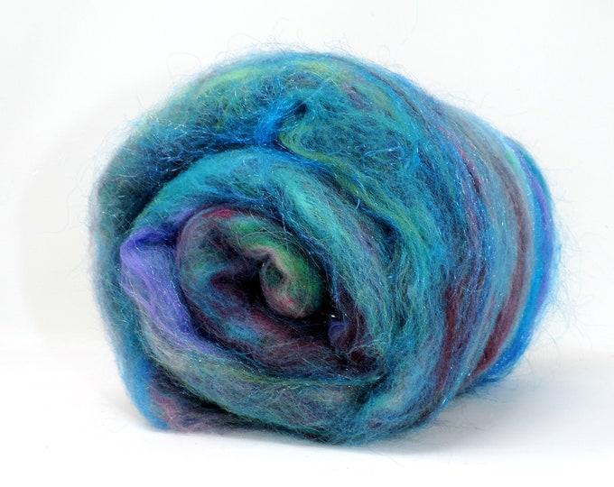 Spinning Batt, Art Batt, Angora Rabbit Fur, Merino Wool, Silk, Sparkle, Blue, Green, Pink, Purple, Carded Batt, Felting, Spinning, Weaving