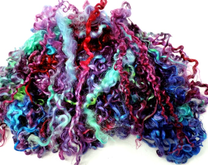 2.4 ozs, Teeswater Curly Locks, Hand Dyed Locks, Extra Long, 12+ Inches, Lock Spinning, Felting, Doll Hair, Gnomes, Spinning, Add Ins