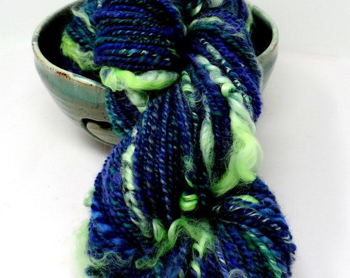 Handspun, Super Bulky, Tail Spun, Textured Art Yarn, Wool Blend, 130 yds, 2 Ply, Kettle Dyed, 4.7 ozs, Hand Spun, Blue, Green, Purple