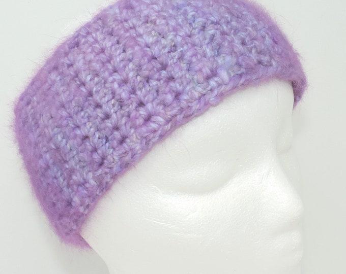 100% Pure Angora Fur Wide Crochet Headband, Light Raspberry, Hand Spun Rabbit Fur Yarn, Adult, Teen Size,