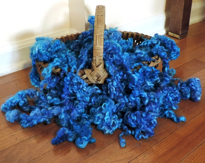 """2 oz, Leicester Longwool, Hand Dyed, Curly Locks, Shades of Blue, Wool Fleece, up to 5"""", Doll Hair, Spinning, Weaving, Felting Wool,"""