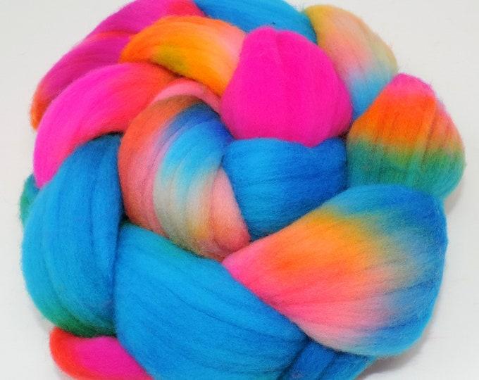 Hand Painted, Merino Wool Roving, Bright Neons, Pink, Yellow, Green, Blue, Braid, Wool Top, Spinning, Felting Wool, 4 oz, Spinning, Weaving