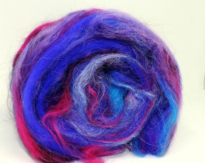 1 oz, Carded, Mini Art Batt, Hand Dyed, Merino Wool, Bamboo, Purple, Fuschia, Black, Felting, Weaving, Spinning, Fiber Art, Spinning Batt