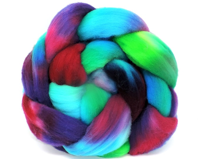 Hand Dyed, Merino Wool Roving, Braided Top, Spinning Wool, Felting Wool, 4oz, Hand Painted, Shades of Blue, Green, Purple, Deep Red, Pink +