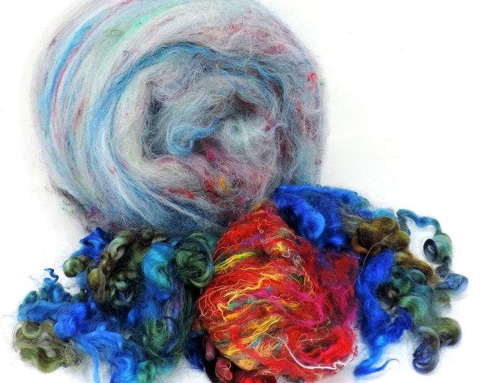 Art Batt, 3 ozs, Curly Locks, Sari Silk,  Spinning Batt, Merino, Silk, Faux Cashmere, Firestar, Kettle Dyed, Felting, Weaving,