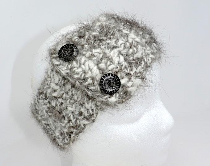 "Angora Rabbit Fur, Hand Crocheted Headband, Ear Warmer, Wood Buttons, 19"", Black, Gray, Ski Wear, Winter Headband, Teen, Adult Size"