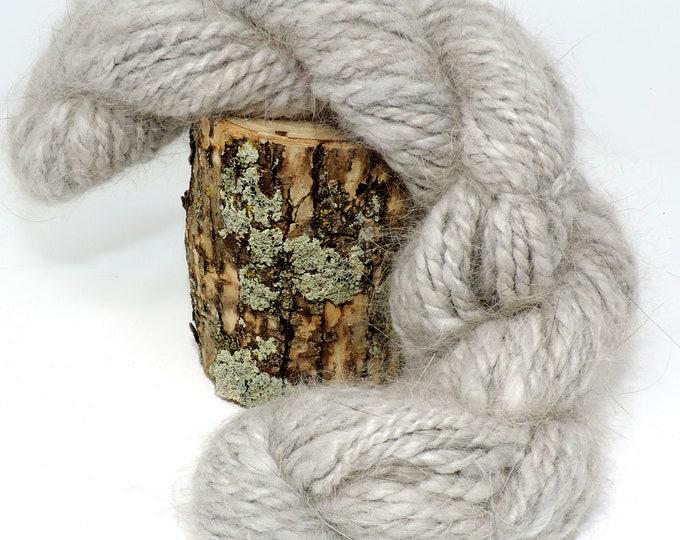 Angora Rabbit Yarn, Hand Spun, Fur, 2 Ply Yarn, Handspun Natural Light Gray, Rabbit Fur,