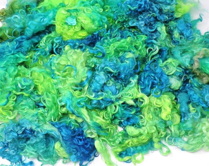 Kettle Dyed, Cotswold Fleece, Bright Shades of Blue, Green,  6+ Inch, Curly Locks, Felting, Doll Hair, Spinning, Art Batts, Add Ins, Weaving