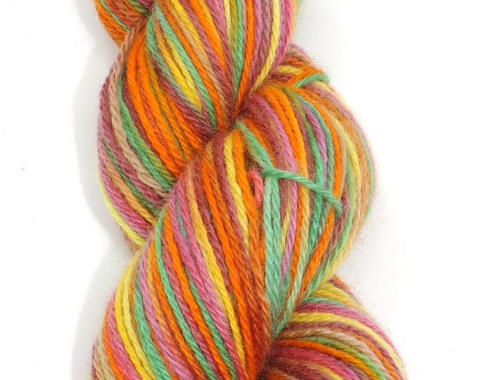 Teeswater, Hand Painted, Wool, DK Weight, Yarn, 3 Ply, 100g,  Knitting Yarn, Crochet Yarn, Weaving, Orange, Green, Yellow Pink