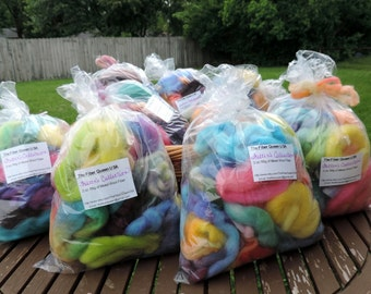 Grab Bag of Felting Wool, Hand Dyed Merino Wool Roving, 2 ozs, Dryer Balls, Soap, Wool for Felting, Wool Sampler, Assorted Colors, Spinning