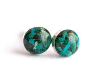 FREE SHIPPING // Blue Chrysocolla Earrings // Chrysocolla Earrings // Chrysocolla Studs // Chrysocolla Jewelry // Raw Chrysocolla // Blue