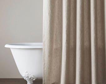 Natural Or White Linen Shower Curtain Country Farmhouse Bathroom Decor  Custom Wide Linen Curtain Panel
