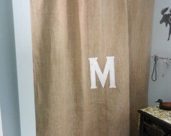72x72Beautiful Rustic Natural Burlap Shower Curtain With Initial Monogram Standard Size Great Quality BEST Price