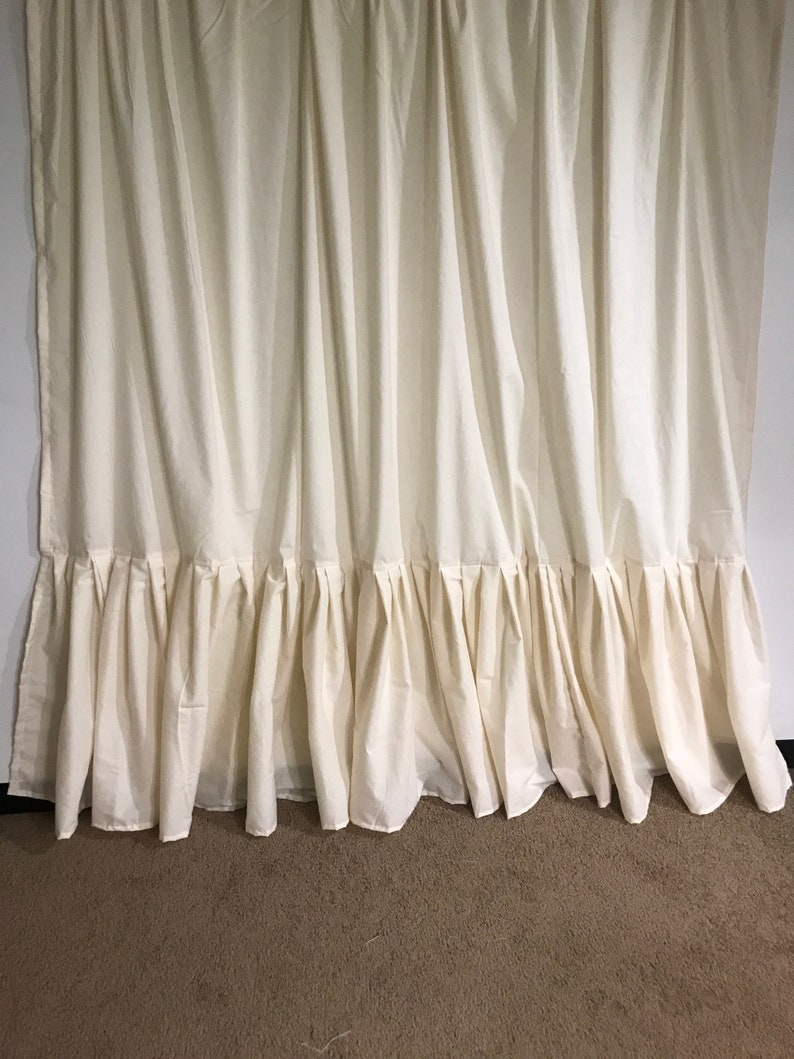 Cream Antique White Cotton Muslin Shower Curtain With Ruffle
