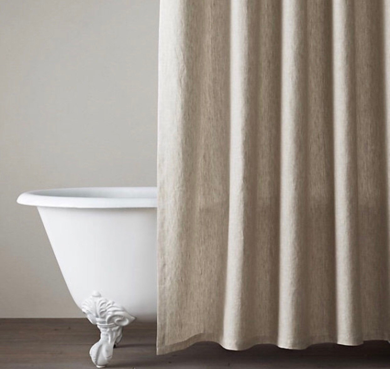 Natural Pure Linen Shower Curtain Bathroom Decor Rustic Country Farmhouse Shower Wide Panel Custom Made