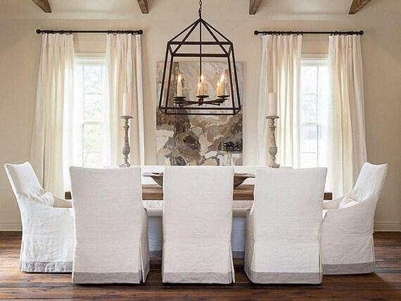 SET OF 2 Linen Designer White Linen Curtains Each Panel