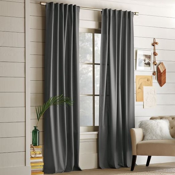 Set Of 2 Charcoal Light Grey Pure European Linen Curtains Etsy