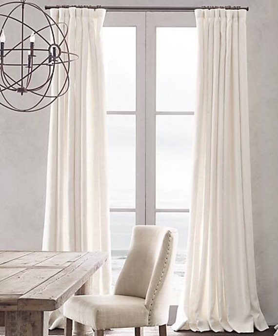 Set of 2: white/ natural 100% pure Linen curtains / country living room  nursery kids home decor / rod pocket