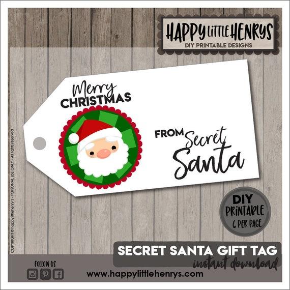 Secret Santa Tags Christmas Secret Santa Gift Tag Wrapping Card Merry Christmas Label Present Diy