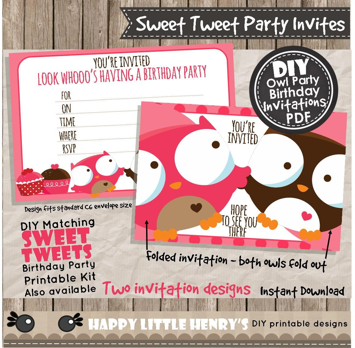 owl party invitations instant download pdf birthday invite