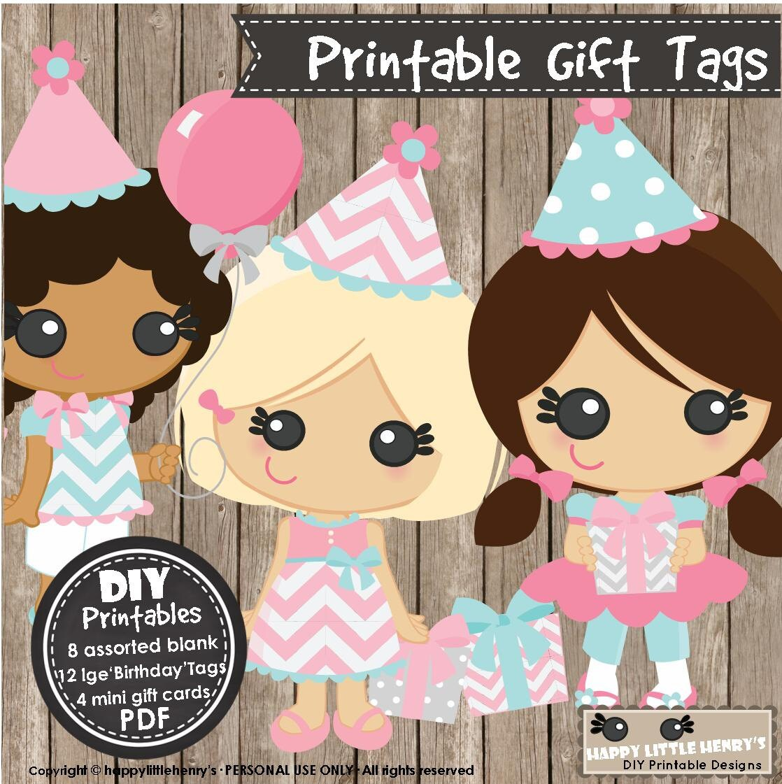 B Daygirls Instant Download Printable Pdf Diy Birthday Gift Tags
