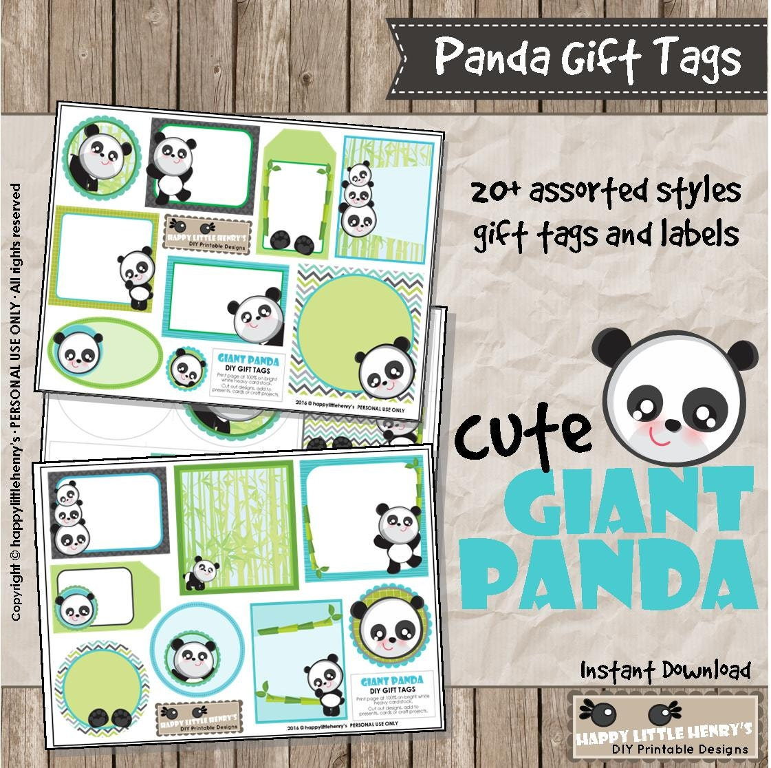 Panda Gift Tags Instant Download Present Wrapping Cards