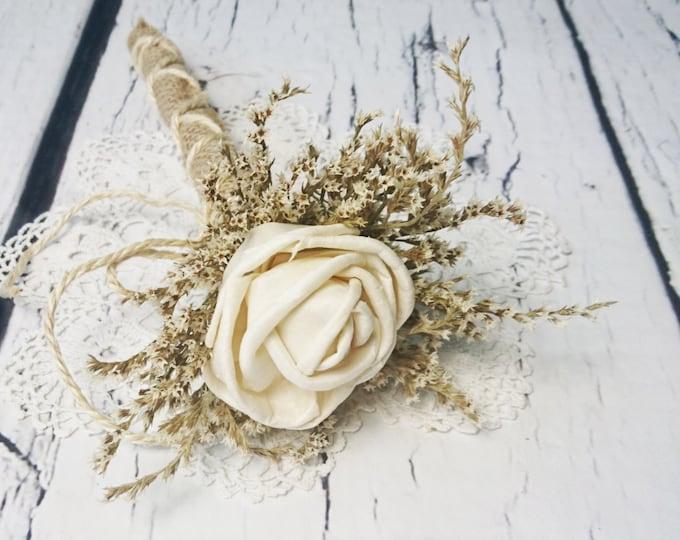 Flower girl wand cream rustic wedding Ivory Flower dried limonium burlap Bridesmaids sola roses vintage custom woodland