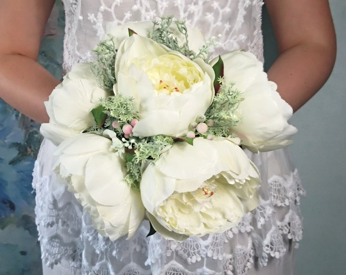 Big silk peonies rustic wedding BOUQUET ivory cream flowers vine grape wire handle green brown custom best quality realistic
