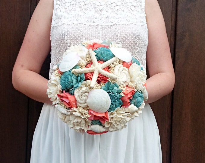 Ivory mint living Coral reef wedding bouquet, beach summer wedding, sola Flowers shells, starfish. Burlap lace, Bridal Bridesmaid toss