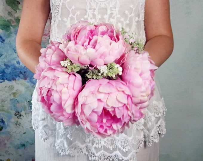 Big silk peonies rustic woodland wedding BOUQUET pink flowers vine grape wire handle green brown pastel best quality realistic