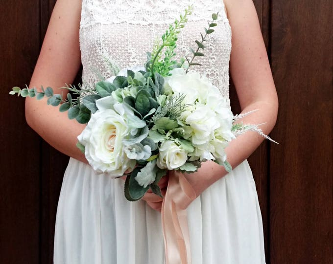Best quality boho bouquet silk flowers dusty miller flocked leafs greenery roses hydrangea eucalyptus ivory elegant satin ribbon bridesmaid
