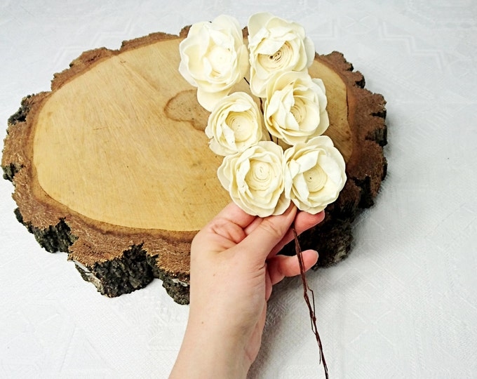 Sola Flowers on stems wires Wedding white ivory diy bouquet table decor favor floral supply natural rustic 6 pcs stemmed kamal shape