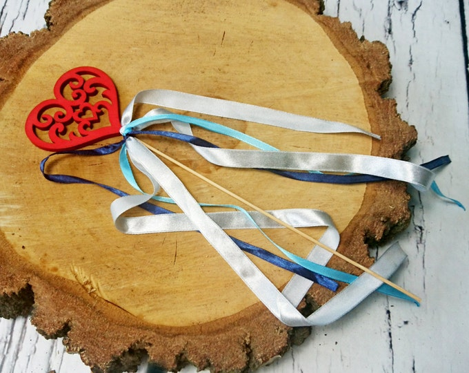 Flower girl wand simple cheap long ribbons white red wooden heart satin blues custom colors