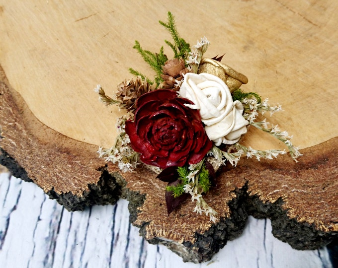 Cedar rose pine cone rustic burgundy gold green cypress wedding Rustic woodland BROOCH CORSAGE bridesmaids Sola Flower winter fall custom