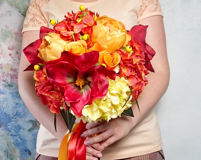 Huge tropical boho wedding bouquet silk peony fall autumn woodland orange yellow red flowers ribbon best quality artificial