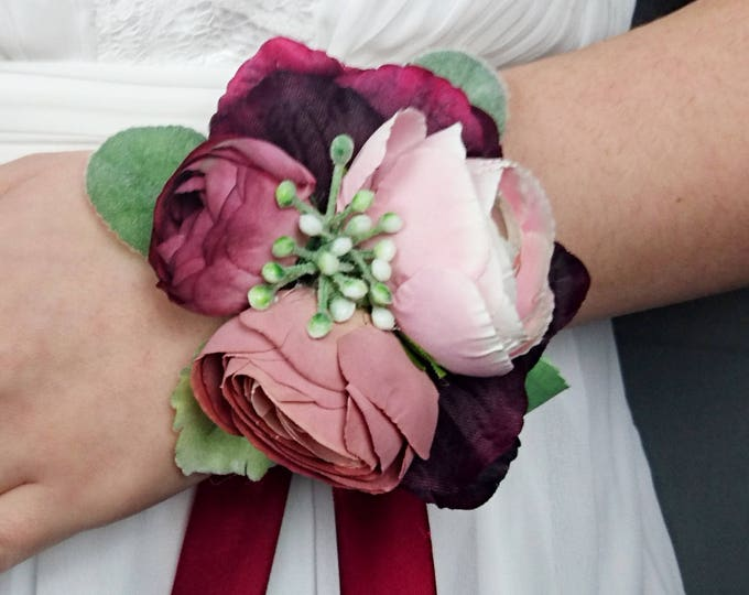 Dusty blush pink burgundy wrist corsage rose realistic silk flower marsala wine dusty miller greenery mother of bride bridesmaid
