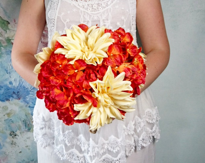 Big silk hydrangea dahlia rustic fall autumn woodland wedding BOUQUET orange yellow flowers vine grape wire best quality