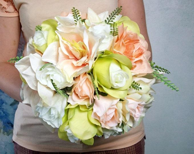 Silk flowers pastel wedding BOUQUET peach green cream Flowers