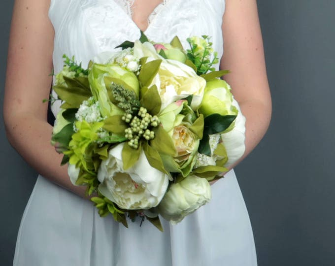 Artificial flowers green wedding bouquet, silk flowers peony greenery, realistic bridal flowers