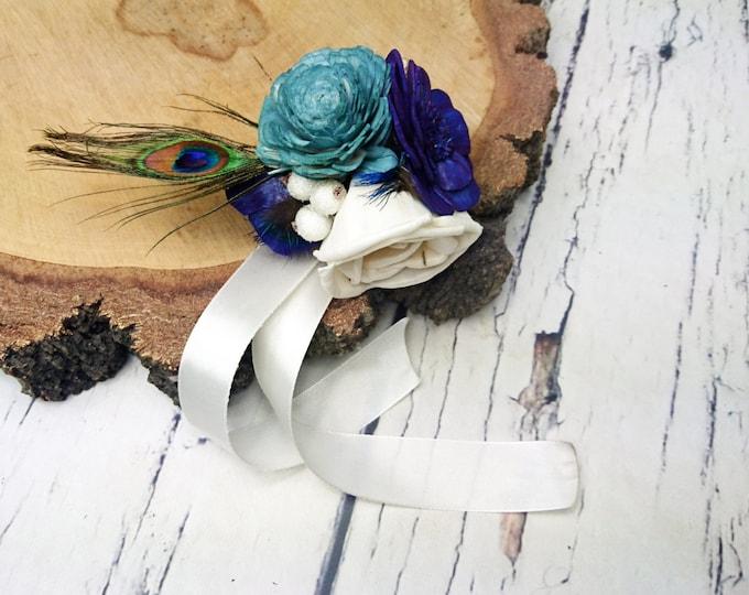 Peacock wedding ivory dark blue turqoise rustic Rustic WRIST CORSAGE bridesmaids mothers boutonniere, Sola Flower, Wedding Flowers custom