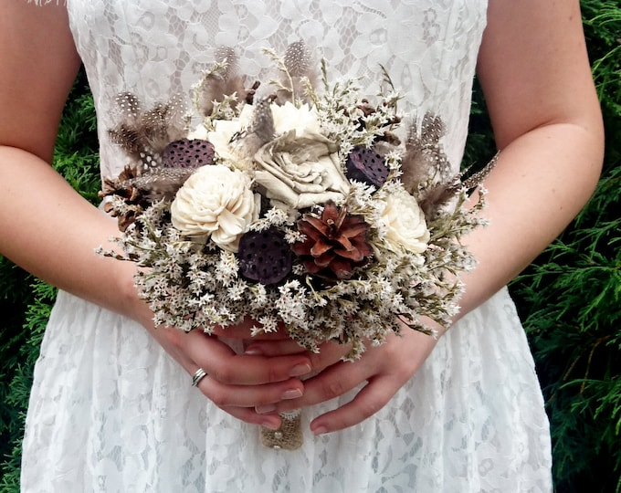 Winter wedding rustic wonderland BOUQUET sola Flowers, pine cones, natural guinea hen feathers, lotos, bridal bridesmaid