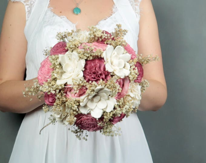Medium blush pink bridal wedding bouquet natural gypsophila baby's breath preserved stabilized flowers sola flowers roses simple rustic