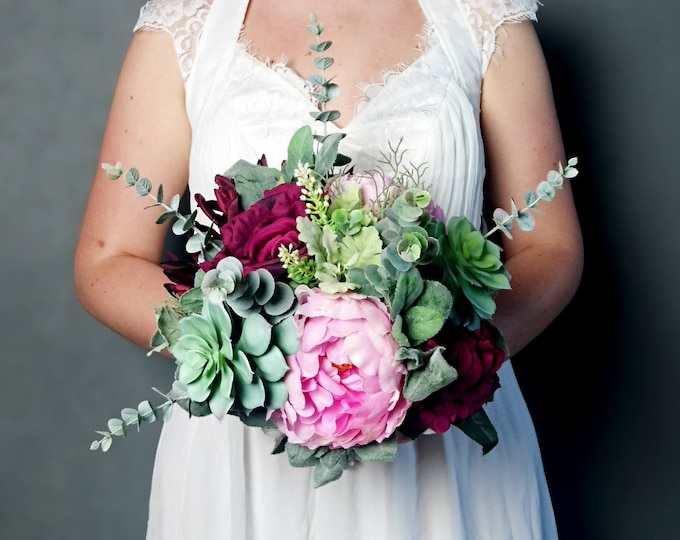 Artificial realistic flowers bridal wedding bouquet in pink and burgundy, boho flowers, pink peony and succulents, wine color rose