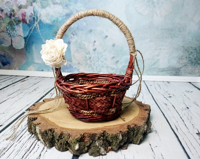 Small Flower girl basket burlap lace sola flower ivory brown rustic woodland summer spring wedding vintage custom southwestern wedding