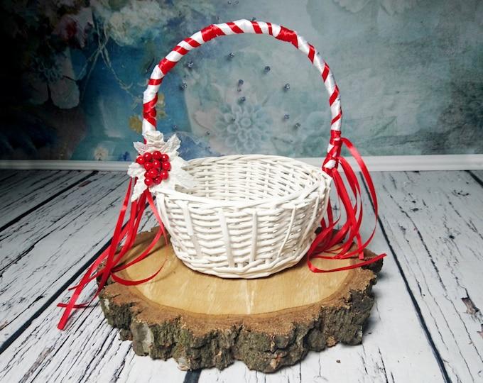 White and red Flower girl basket winter wonderland wedding satin ribbon frozen leaves berries ribbons