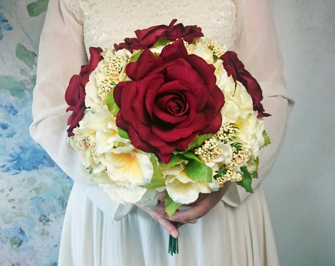 Best quality burgundy bouquet, velvet silk flowers roses hydrangea vintage wedding, winter bridal possy