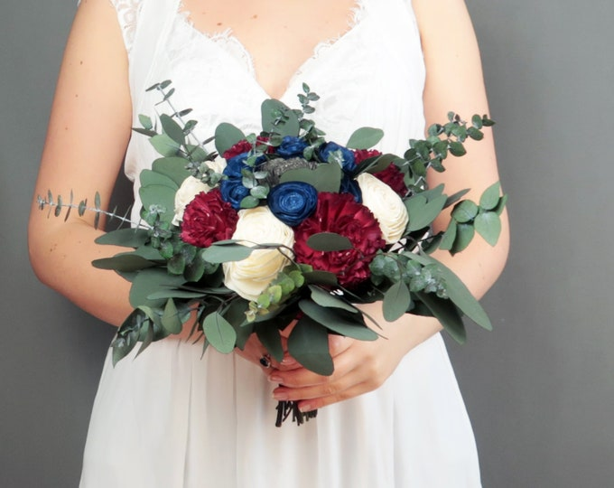 Boho wedding bouquet in burgundy wine navy gray ivory sola flowers preserved eucalyptus vintage style bridal bridesmaid us flag colors