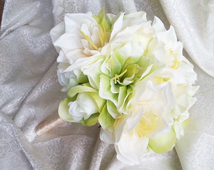 Green silk flowers wedding BOUQUET greenery lime green cream roses lily satin ribbon  Bridal Bridesmaids cheap