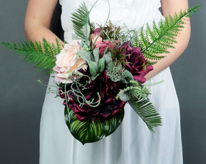 Bridesmaids bouquet Boho wedding burgundy blush small greenery ferns tropical leafs artificial silk flowers realistic