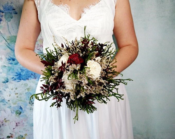Medium ivory burgundy wine green brown rustic wedding BOUQUET, Sola Flowers, preserved cypress, cones, cedar rose, Burlap, Lace, Bridesmaids